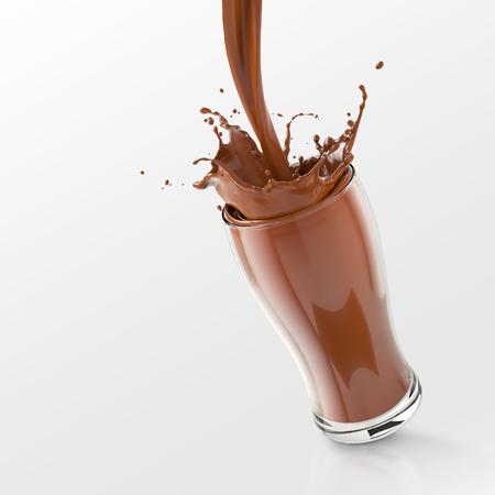 Frisches Schokoladen Spritzen im Glas, strömendes Schokoladenspritzen lokalisiert auf weißem Hintergrund mit Beschneidungspfad, Wiedergabe 3d.
