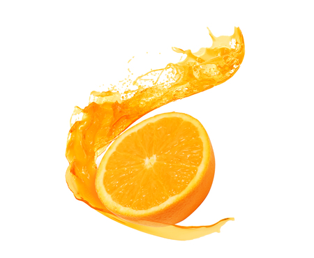 orange with splash isolated on white background,orange photo with splash photo retouching, include Clipping path.