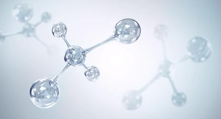 molécula o átomo, átomo abstracto o estructura de la molécula para la ciencia o el fondo médico, ilustración 3d