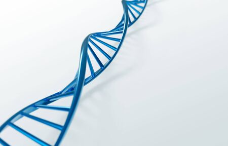 education concept: blue DNA helix, molecule or atom, Abstract atom or molecule structure for Science or medical background, 3d illustration.
