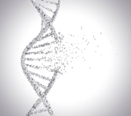 education concept: DNA helix break, molecule or atom, Abstract atom or molecule structure for Science or medical background, 3d illustration.