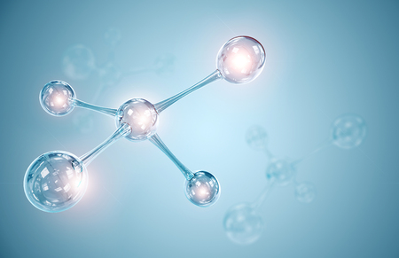 education concept: molecule or atom, Abstract atom or molecule structure for Science or medical background, 3d illustration.