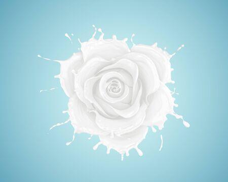 splash of milk flower rose, flower shape,milk isolated with clipping path, 3d illustration.