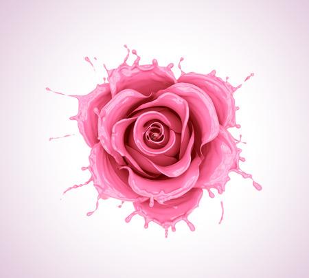 splash of juice or yogurt flower rose, pink liquid flower shape,milk isolated with clipping path, 3d illustration. Stock fotó