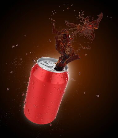 Cola splash can,fresh cola or soda splash with fresh water drop,3d illustration with clipping path. Stock fotó