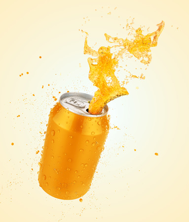 Orange juice splash can,fresh juice or soda splash with fresh water drop,3d illustration with clipping path.