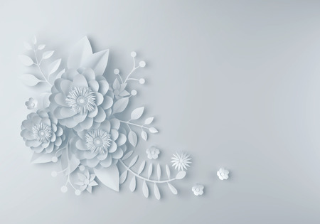 round: white paper flower wallpaper background, abstract floral background, design for wedding and  greeting card template, 3d illustration.