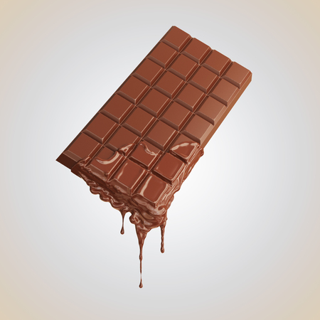 Chocolate bar with melted chocolate. Design for chocolate products.chocolate bar include clipping path, 3d illustration.