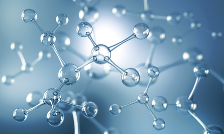 Abstract background of atom or molecule structure, Medical background, 3d illustration. Standard-Bild
