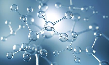 Fondo abstracto de la estructura del átomo o de la molécula, fondo médico, ilustración 3d. Foto de archivo