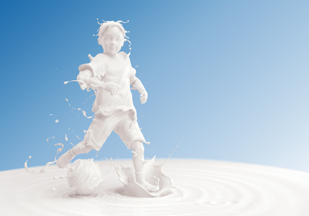 Splash of milk in form of Boys body playing football, Boy soccer player, Splash of milk with clipping path. 3D illustration.