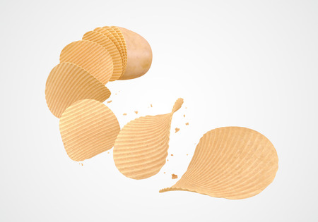 Concept of Cut raw potato vegetable Become a plate of potato chips, Include clipping path 3d illustration. Stock fotó