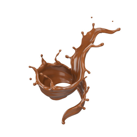 Chocolate spiral or Twist shape, Brown liquid splash isolate design elements. Include clipping path 3d illustration. Stock fotó