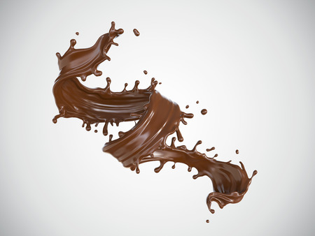 Chocolate spiral or Twist shape, Brown liquid splash isolate design elements. Include clipping path 3d illustration. Stock Photo