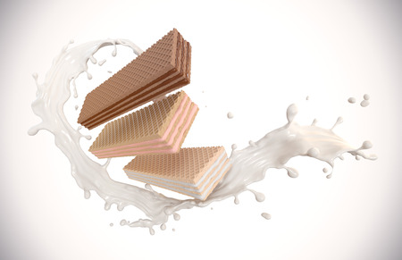 Set of favorite wafer Flavor with cream Splash, Crispy wafer Strawberry Milk and Chocolate Flavor, with Clipping path 3d illustration.