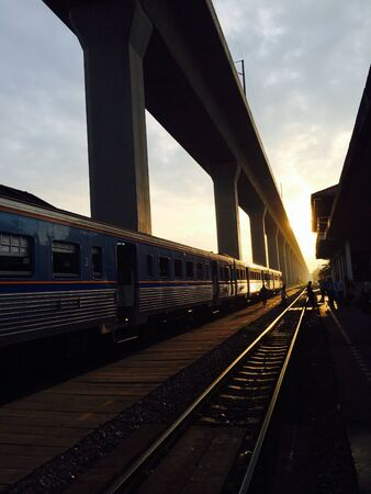sillouette: Morning at railway in Bkk