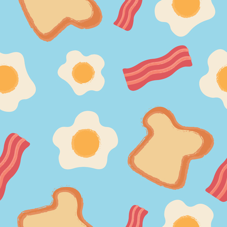 Bread, Bacon and Egg Pattern on Blue Background