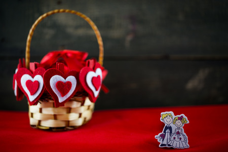 soul mate: Valentines Day background with basket of hearts and soul mate