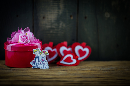 soul mate: Valentines Day background with hearts,gift and soul mate.
