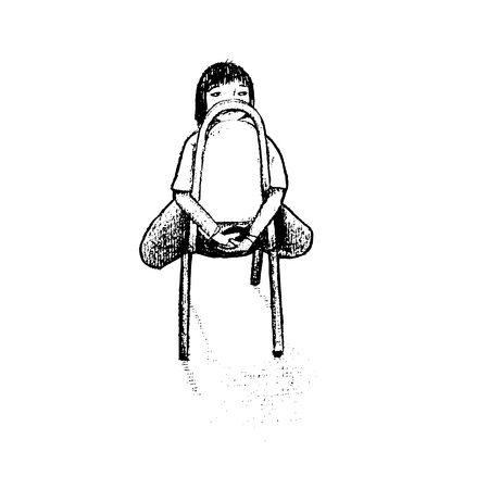 returning: illustration.The girl on chair onely doodle style Illustration