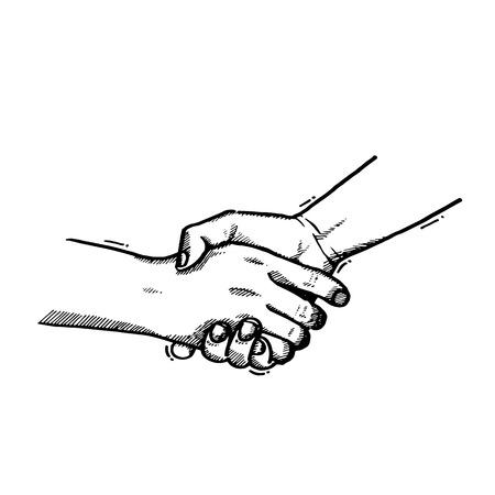 illustration.Sketch handshake, vintage shaking hands