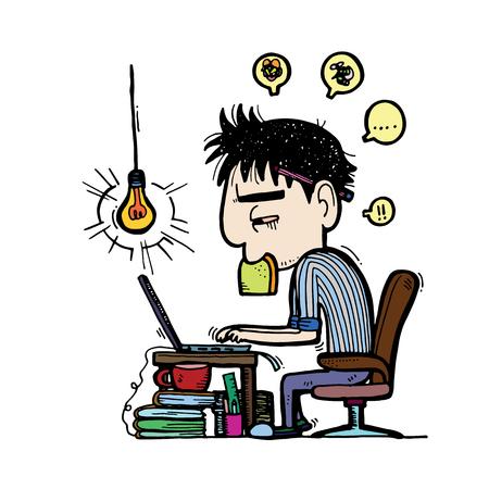 Schreibtisch voller akten  Illustration.Business Mann Mitarbeiter Sind Verzweifelt Von Zu ...