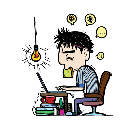 illustration.Business man employee being desperate of too much work at his desk full of documents -  sketch Illustration
