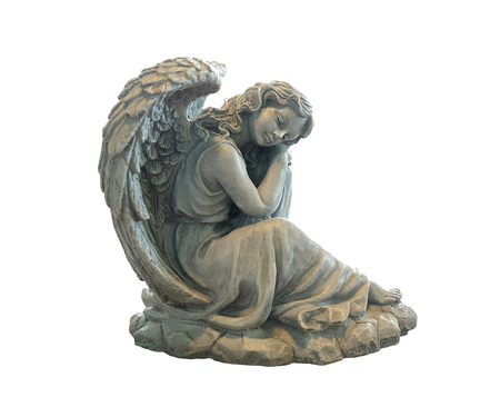 Statue of an angel isolated on white with clipping path Stock Photo