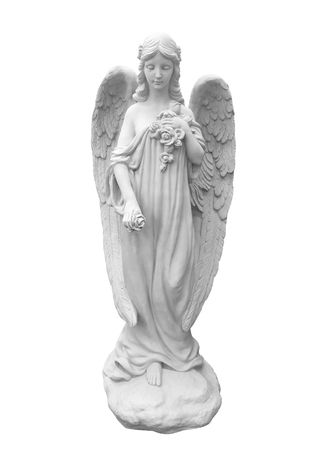 Statue of an angel isolated on white with clipping path,Fairy ch