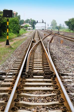 Een spoorlijn switch Stockfoto