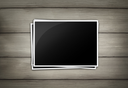Wood plank brown texture background with photo frame isolate photo