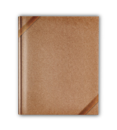 cover old style recycle brown notebook isolated with brown ribbon on white background photo