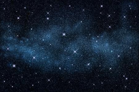 Donkere nachthemel met fonkelende sterren en planeten, illustratie Stockfoto