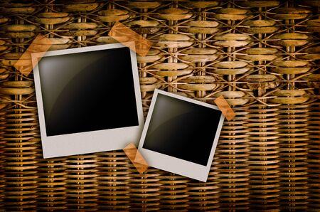 wickerwork: Wickerwork background detail, with photo frame