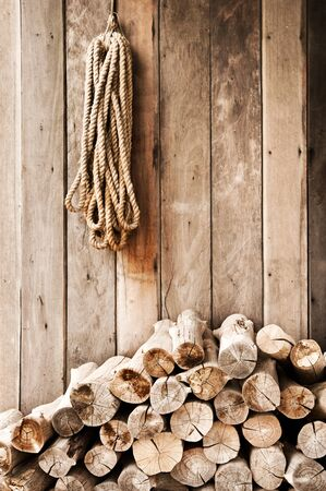 lead rope: Wood planks put on wood wall and lead rope