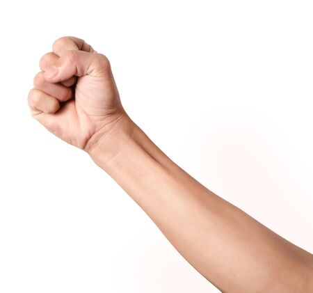 outrage: Single fist held up in outrage