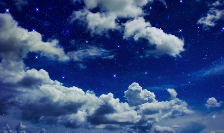 Night sky with clouds fully with the star Stock Photo