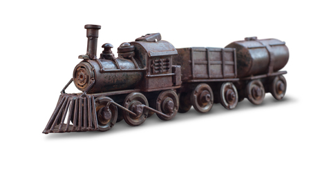 Classic train iron toy isolate with clipping path on white background Stock Photo