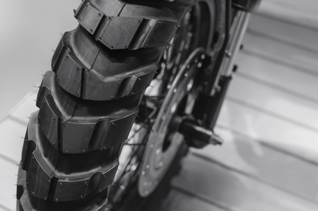 Motorbike wheels tire ,black and white tone Stockfoto