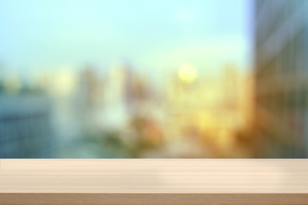 wood table with city view