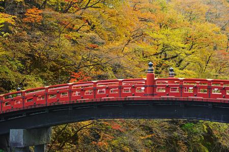 Close up Nikko bridge, Japan at the Shinkyo Bridge over the Daiwa River