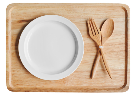 empty wood plate with blank dish and spoon fork