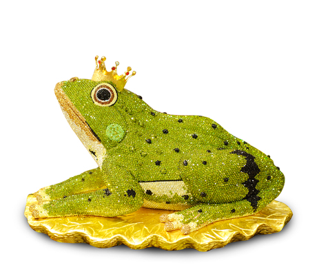 elegant designed diamond in frog on white background, the frog prince