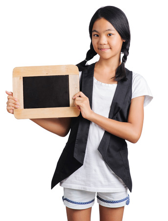 Portrait of a young girl hands holding the chalkboard with clipping path Stockfoto