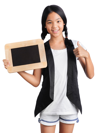 Portrait of a young girl hands holding the chalkboard