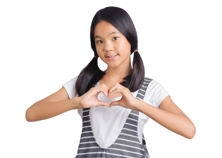portrait of girl showing love sign hand
