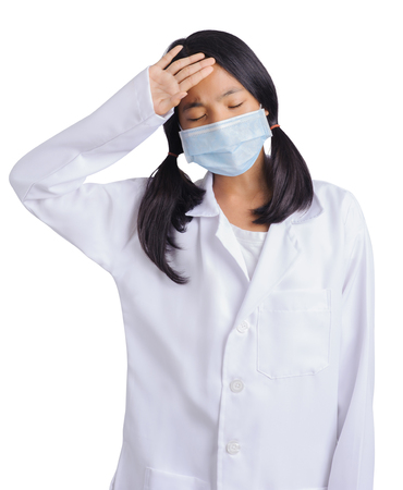 young girl sick with mask and wearing Doctor suite Stockfoto