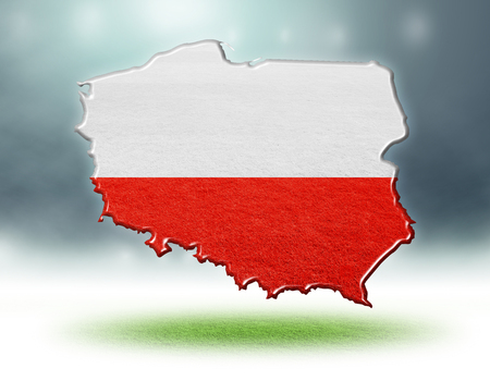 Poland map design with flag colouf and grass texture of soccer fields,3d rendering