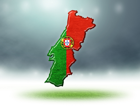 Portugal map colour design with grass texture of soccer fields,3D render