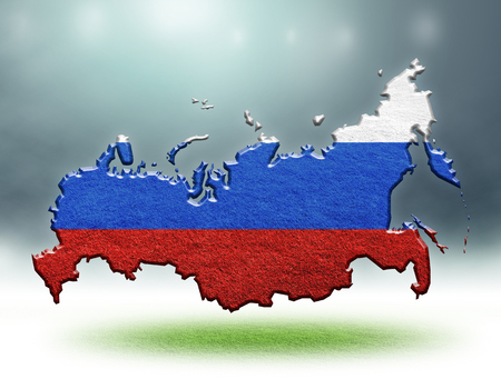 Russia map colour design with grass texuture of soccer fields,sport background